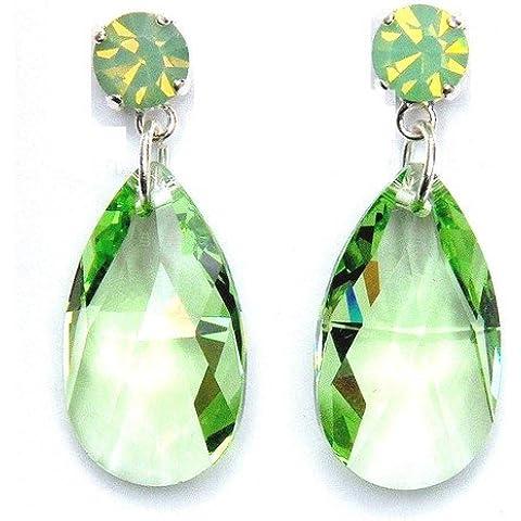 Cristallo Swarovski orecchini pera in luce verde
