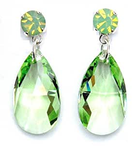 Cristallo swarovski orecchini pera in luce verde per lobi for Luce di pera