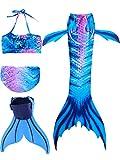 onlight Mädchen Meerjungfrauen Bikini Kostüm mit Meerjungfrau Flosse Prinzessin Badebekleidung Cosplay Kostüm Meerjungfrauenschwanz für Schwimmen