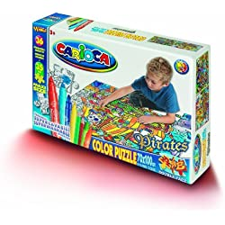 Puzzle de piratas para colorear, doble cara, incluye 36 rotuladores.