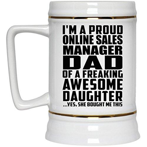 Proud Online Sales Manager Dad Of Awesome Daughter - Beer Stein Bierkrug Keramik Bierhumpen Bar Becher Kneipenkrug - Geschenk zum Geburtstag Jahrestag Muttertag Vatertag Ostern Sale Vintage Milk Glass