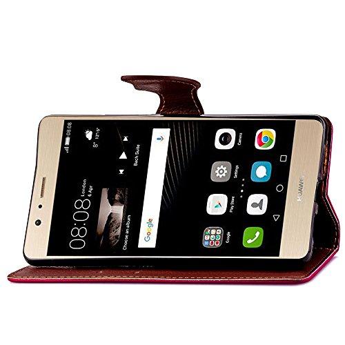 Huawei P9 Plus Fall-Abdeckung, Huawei P9 Lite Fall-Abdeckung, Schlag-Standplatz-Fall mit Seil TPU PU-lederner Fall-Abdeckung, Blatt Wölbung ( Color : Rose , Size : Huawei P9 Lite ) Rose