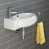 iBathUK | Modern Oval Ceramic Cloakroom Basin Right Hand Bathroom Sink CA1010R