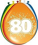 Folat 80. Geburtstag Luftballons Party-Deko 8 Stück bunt 30cm Einheits