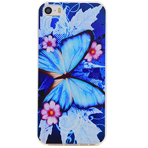 iPhone SE Hülle,iphone 5s Schutzhülle Defender Bumper,Ekakashop Ultra dünn Slim Bunte Vollen Blume Muster Modisch Durchsichtig Transparent Weiche Silikon TPU Crystal Gel Case Protective Handyhülle Tas Blauer Schmetterling