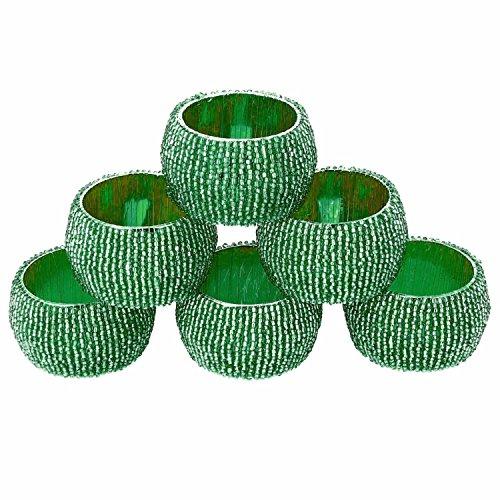 Set di 6 - green anello mano un tovagliolo di un tovagliolo di stoffa - perline di nozze anello di tovagliolo - dia 6,4 cm