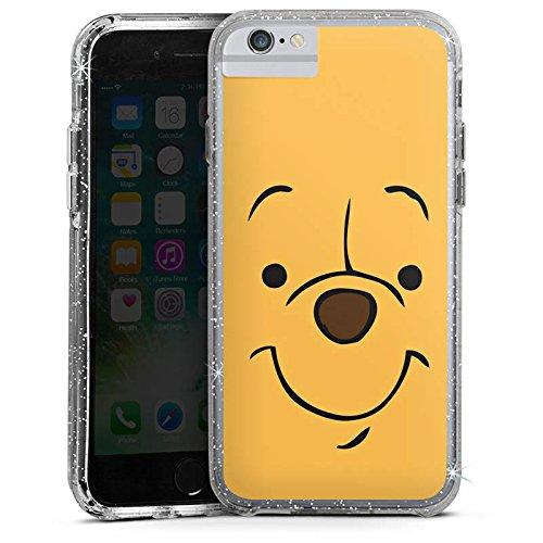 Apple iPhone 6s Bumper Hülle Bumper Case Glitzer Hülle Disney Winnie Puuh Face Geschenke Merchandise Bumper Case Glitzer silber