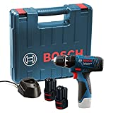Bosch Professional 06019F3070 GSB 12V-15 with 2 x 1.5 Ah Batteries with Charger and Carry Case