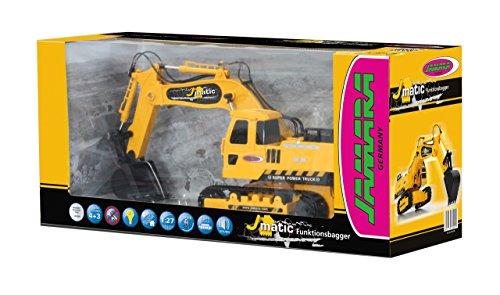 Jamara 404920 - Bagger J-Matic 1:27 2,4GHz - Realistischer Motorsound, Hupe, Rückfahrwarnsound, 660 ° Turmdrehung, programmierbare Funktionen mit Wiederholung, Autoabschaltfunktion,Entladen / Aufladen - 7