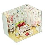 P Prettyia 1:24 DIY Puppenhaus Puppenstuben Schlafzimmer mit Möbel und LED Kinder Spielzeug Geburtstagsgeschenk