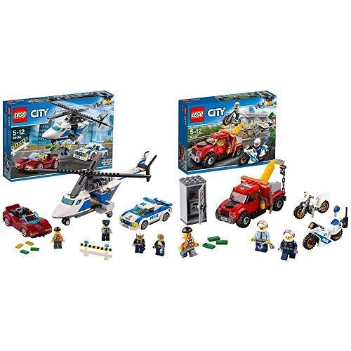 LEGO City Polizei 60138 - Rasante Verfolgungsjagd, Konstruktionsspielzeug &  City 60137 - Abschleppwagen auf Abwegen, Bausteinspielzeug