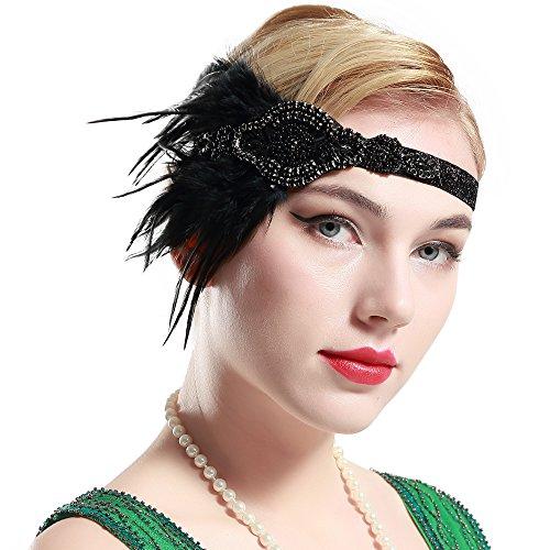 BABEYOND 1920s Stirnband Flapper Stirnbänder 1920er Jahre Große Gatsby Stil Braut Feder Kopfschmuck (Passt Stil 1920)