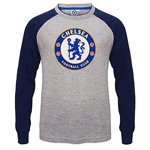 Chelsea FC officiel - T-shirt à manches longues raglan - thème football/avec blason - enfant - Gris - 8-9 ans