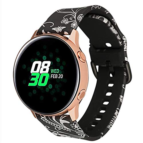 WAOTIER für Samsung Galaxy Watch Active Armband Bunte Muster Silikon Armband Kompatibel für Samsung Galaxy Watch Active Armband Musterband Wasserdichter Weiche Silikon Armbänder für Frauen (Muster F) -