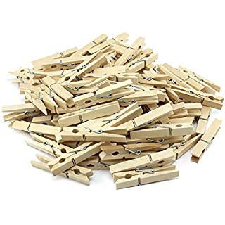 com-four® 100x natural clothespins, sturdy clothespins made birch wood (100 pieces)