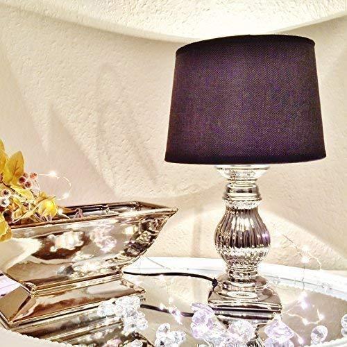 Schwarze Keramik Lampe (STEFFI 2er Set Nachtlampe Nachttischlampe Nachtleuchte Tischlampe Tischleuchte Keramik Lampe Silber Schwarz)