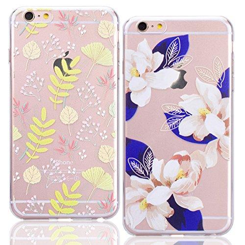"""WE LOVE CASE 2er Pack iPhone 6 Plus / 6s Plus 5,5"""" Hülle Weich Silikon iPhone 6 Plus 6s Plus 5,5"""" Schutzhülle Handyhülle Im Durchsichtig Transparent Crystal Clear Blumen Gyro Muster Handytasche Cover  Blätter Blumen"""
