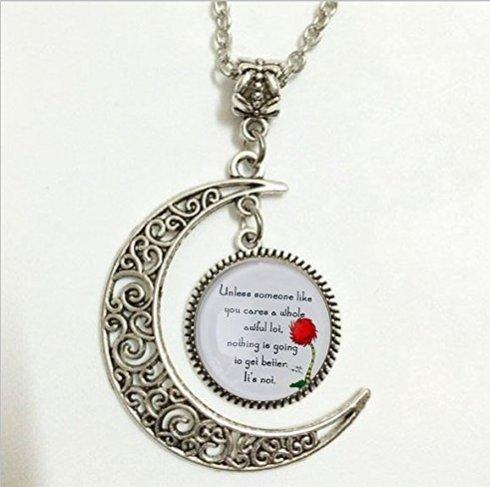Lorax Truffula Baum 'sofern nicht' Zitat Anhänger, Silber Halskette, Silber Moon Schmuck, Moon Halskette Glas Art Bild.