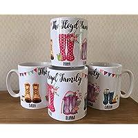 Personalised Family Wellington Boot Mugs 4 Set