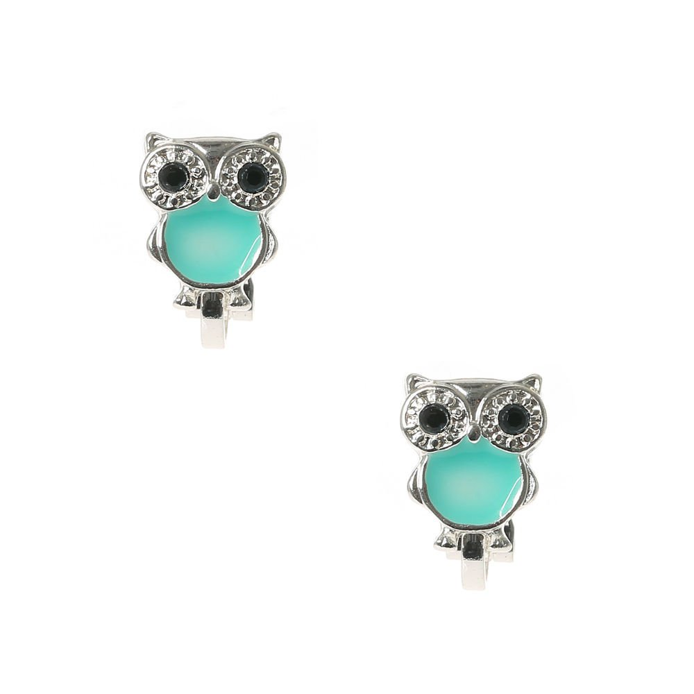 Claire's Girl's Cute Silver & Turquoise Owl Clip On Earrings