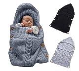 Omeny Couverture enveloppante pour nouveau-nés, Sac de couchage laine tricotée pour bébé Enveloppe de Poussette (Gris)