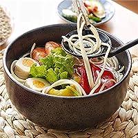 Diseño unico Cerámica estilo japonés sopa grande Tallarines Ramen Tazón Ensalada de fruta creativa Comida Tazones Horno Horno de microondas Mezcla segura Servir Tazón de cocina 6.5 Pulgadas (Color: St