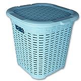 Wäschekorb - Aufbewahrungstruhe Rattan - Aufbewahrungskiste - Rattan Box mit Deckel - Universalbox in Rattan Optik mit Farbauswahl (blau)