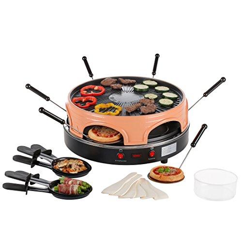 Ultratec Pizzarette / Raclette Ofen für bis zu 6 Personen, nutzbar als Raclette oder Backofen für Minipizza oder als Kombination von Raclette und Pizzaofen, Backplatte mit Rillen für fettarmes Grillen