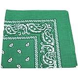 KELLY dark GREEN cotton bandana scarf SQUARE BLACK WHITE PAISLEY by TC-Accessories