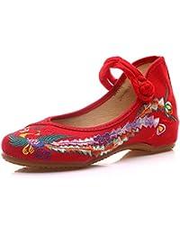 Fanwer Mary Jane Canvas Phoenix Bordado Mujeres Suela Suave Zapatos Chinos Planos Ocasionales