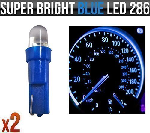 12v-12w-t5-5mm-super-bright-blue-led-wedge-car-dashboard-speedo-bulbs-286-x-2