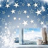 Wandschnörkel® 80 Sterne Aufkleber Fensteraufkleber/Schaufensteraufkleber Weihnachten Dekoration Fensterbilder Gestalten Sie Ihre Fenster mit diesen wunderschönen Stickern Größe 3,5 cm -15cm Durchmesser