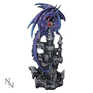 Alator Giftware Gothic Figurine - Purple Reign Dragon & Castle - 31cm - U2472G6