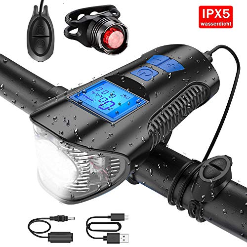 Spartan-X LED Fahrradlicht Set USB Wiederaufladbare Wasserdicht Fahrradbeleuchtung Set Umfassen Frontlicht & Rücklicht Lampenset für alle Mountain & Rennrad