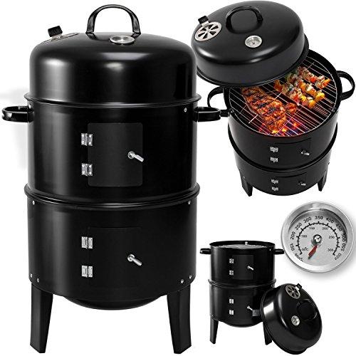 Kesser 3in1 BBQ Holzkohlegrill Barbecue Smoker Räuchertonne Räuchergrill mit Thermostat -diverse Modelle- (3 in 1 Räuchertonne) Rundgrill