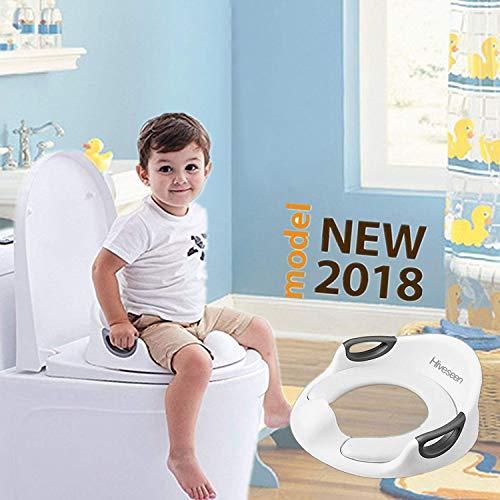 Hiveseen Asiento Inodoro para Niños, Reductor de WC para Bebé, Tapa WC con reposabrazos, Ayuda para aprender a ir al baño (Regalo: 1 x cepillo + 2 x cojín desmontable)