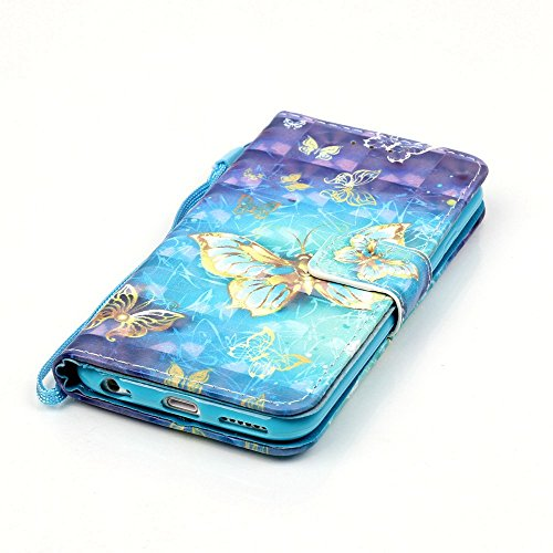 Coque pour iPhone 6 6S, Etui pour iPhone 6 6S, ISAKEN Peinture Style PU Cuir Flip Magnétique Portefeuille Etui Housse de Protection Coque Étui Case Cover avec Stand Support et Carte de Crédit Slot pou Papillon or brillant