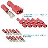 Steckverbinder Flachstecker RF-F608P Isolierte Kabelschuhe Quetschverbinder Set Kabelverbinder für elektro Installation und Werkstatt - geeignet für Kabelquerschnitte 0,5-1,5 mm² (10Xrot)