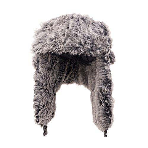 Mens Winter Warm Trapper Hat with Faux Fur Ski Snowboarding Hat Bearded Hat Grey