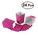NUOLUX Scatole di popcorn, contenitori di caramelle scatole sacchetti di carta, 12 x6 CM, 24pcs (Rosa Rosso)