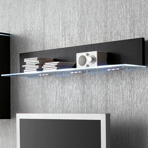 Anbauwand 3-tlg. in Hochglanz schwarz, TV-Element, Hängevitrine, Glasbodenpaneel, Mindestbreite: ca. 180 cm, Tiefe: ca. 40 cm - 3