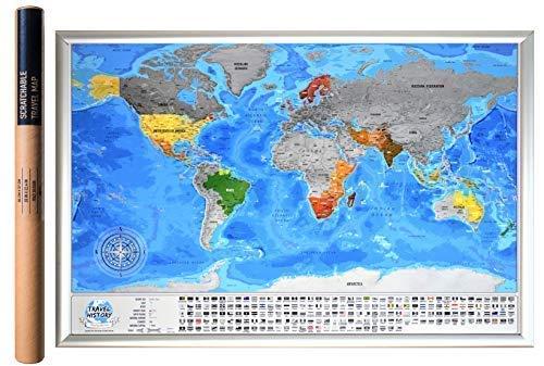 Mappa del Mondo da Grattare Via i Posti in Cui Viaggi - i Migliori Dettagli Cartografici Questa Mappa Di Viaggio ha 732 Città, 196 Bandiere, 76 Profondità Marine, 13 Cime Montuose