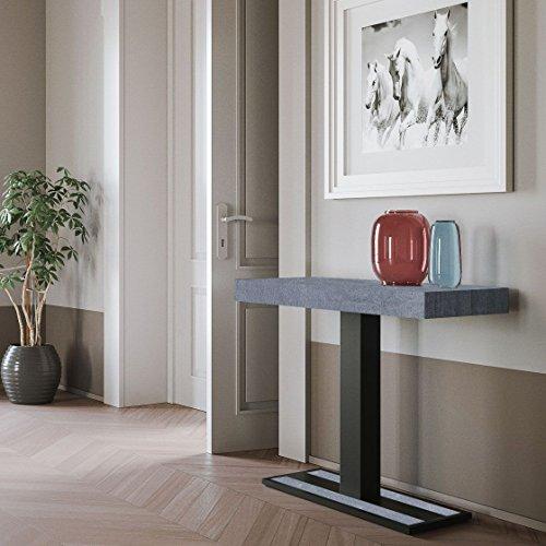 Group design consolle capital in legno cemento l.90 p.40 h.77 fino a 300cm con staffe per carrello