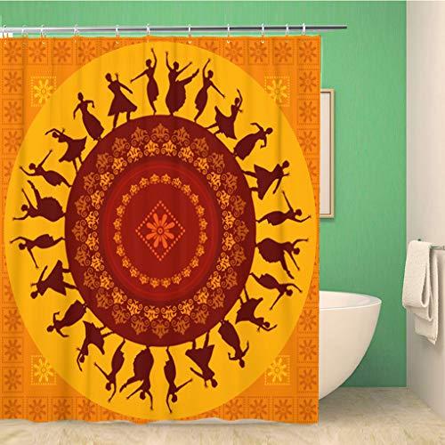 Awowee Decor Duschvorhang, bunt, Dance of Indian Classical Dancer India Classic People 180 x 180 cm, Polyester Stoff wasserdicht Badvorhänge Set mit Haken für - Indien Kostüm Schmuck Sets