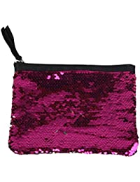 Tinksky Fashion Sparkly Sequin bolso de embrague bolso de señora Party Evening bolso de embrague bolso monedero regalo de San Valentín para las mujeres (rosa roja)