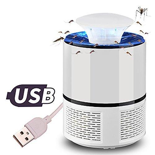 LSXSZZ8-Trampa Mosquitos Moscas Insectos, Mata Mosquitos Atrapa Electrico Lampara con Luz USB LED para Interior Casa Jardín (White, 19)