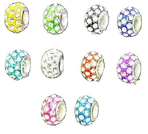 rkc exquis cristal perles charms pour bracelets Choix de Couleurs–1–Lot de 10Charms * * * * * * * * * * * * * * * * avec perles/pour bracelets Charms–Compatible avec les bracelets Pandora Biagi Troll Chamilia Bracelet Serpent Chaînes colliers, verre, multicolore, 10 x Mixed Beads