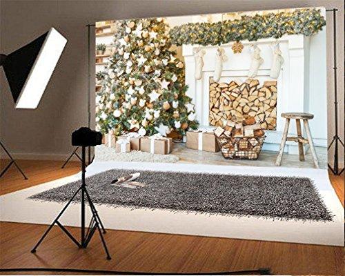 YongFoto 3x2m Vinyl Foto Hintergrund Weihnachten Baum Kamin Glänzender Licht Strumpf hölzerner grüner Rebe Teppich Holzfußboden Innere Fotografie Hintergrund für Fotoshooting Portraitfotos Party Kinder Hochzeit Fotostudio Requisiten (Reben Grüner Teppich)