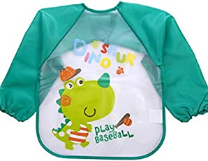 Online Monk Baby Accessories- Sleeved Washable Waterproof Bib Apron for Babies & Kids - Type Baseball Dinosour