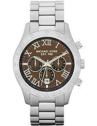 Michael Kors MK8213 - Reloj con correa de caucho para hombre, color marrón / gris